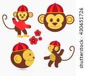 chinese monkey set  over white... | Shutterstock .eps vector #430651726