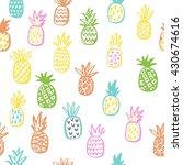 summer print with pineapple | Shutterstock .eps vector #430674616