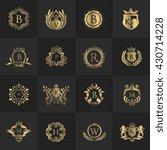 luxury logo set with heraldic...   Shutterstock .eps vector #430714228