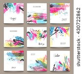 set of nine creative abstract... | Shutterstock .eps vector #430722862