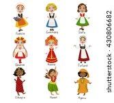 girls in national costumes set... | Shutterstock .eps vector #430806682