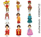 kids in national costumes set... | Shutterstock .eps vector #430806712