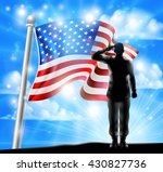 a silhouette soldier saluting... | Shutterstock .eps vector #430827736