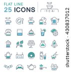 set vector line icons in flat... | Shutterstock .eps vector #430837012