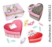 watercolor set of gift boxes.... | Shutterstock . vector #430860112