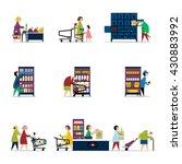people in supermarket. raster... | Shutterstock . vector #430883992