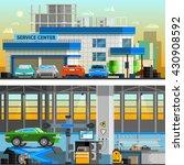 auto service flat horizontal... | Shutterstock .eps vector #430908592