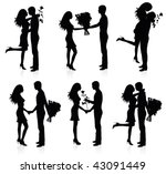 Different silhouettes of couples with flowers. - stock vector