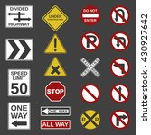 vector 20 road signs collection.... | Shutterstock .eps vector #430927642