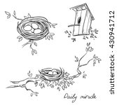 hand drawn nests and a... | Shutterstock .eps vector #430941712
