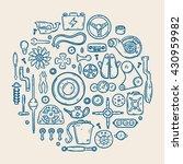 auto spare parts line vector... | Shutterstock .eps vector #430959982