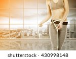big blurred window and woman... | Shutterstock . vector #430998148