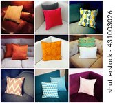 colorful cushions decorating... | Shutterstock . vector #431003026