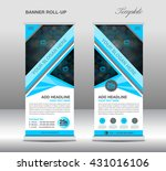 blue roll up banner stand... | Shutterstock .eps vector #431016106