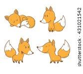 Cute Cartoon Foxes Set. Funny...