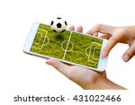 man hand hold and touch screen... | Shutterstock . vector #431022466