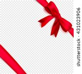 red isolated ribbon with bow... | Shutterstock .eps vector #431023906
