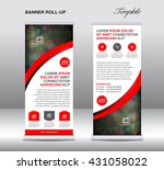 red roll up banner stand... | Shutterstock .eps vector #431058022
