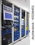 The mainframe and communication racks in data center for large organization - stock photo