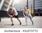 man and woman doing some... | Shutterstock . vector #431073772