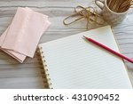 pretty pink stationary  pencil... | Shutterstock . vector #431090452