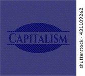 capitalism emblem with denim... | Shutterstock .eps vector #431109262