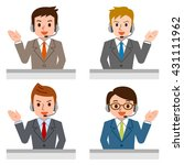 friendly service agent talking... | Shutterstock .eps vector #431111962