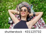 beautiful girl resting on the... | Shutterstock . vector #431125732