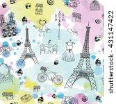 paris glamour pattern | Shutterstock .eps vector #431147422