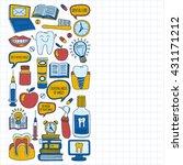 dentistry vector doodle set of...   Shutterstock .eps vector #431171212