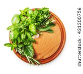Herbs On Cutting Board. Fresh...