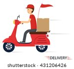 delivery service on scooter ... | Shutterstock .eps vector #431206426