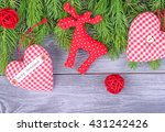 Christmas Textile Hearts And A...