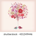 Floral Spring Card. Watercolor...