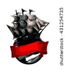 illustration of a ship a red... | Shutterstock .eps vector #431254735