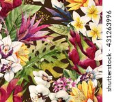 watercolor tropical pattern ... | Shutterstock . vector #431263996
