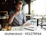 businessman working while... | Shutterstock . vector #431278966