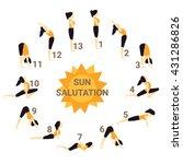 sun salutation  yoga | Shutterstock .eps vector #431286826