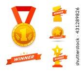 winner set awards icons or... | Shutterstock .eps vector #431289826