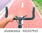 man riding sport bike top view... | Shutterstock . vector #431317915