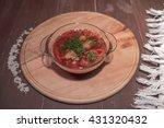 ukrainian soup with beets  ... | Shutterstock . vector #431320432