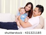 asian parent playing with their ... | Shutterstock . vector #431321185