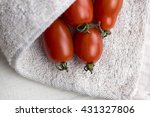 red shiny cherry tomatoes on... | Shutterstock . vector #431327806