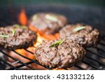 bbq burgers  smoke and fire ... | Shutterstock . vector #431332126