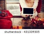 Santa Claus Woman And Hands An...