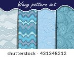 blue waves seamless pattern set....   Shutterstock .eps vector #431348212