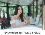 woman using smart phone in... | Shutterstock . vector #431357032