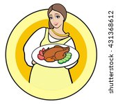 waitress with tray illustration ... | Shutterstock .eps vector #431368612
