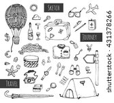 travel icons set. hand drawn... | Shutterstock . vector #431378266