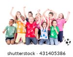 group of kids with soccer ball... | Shutterstock . vector #431405386